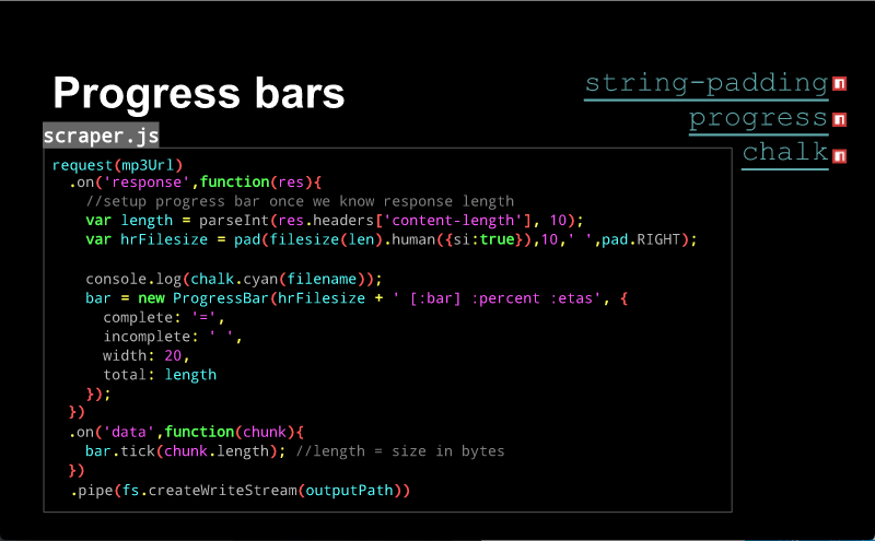 Slide about building progress bars. There are many many lines of code visible.